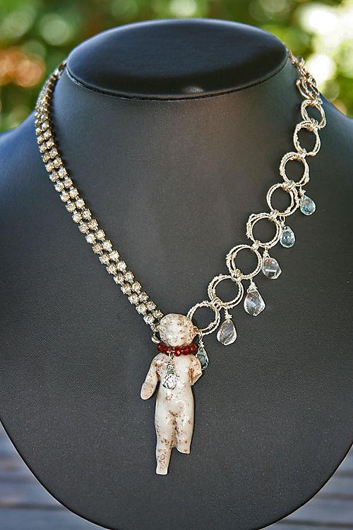 German doll with rhinestone bracelet, handmade chain, garnets, crystals, and quartz 1
