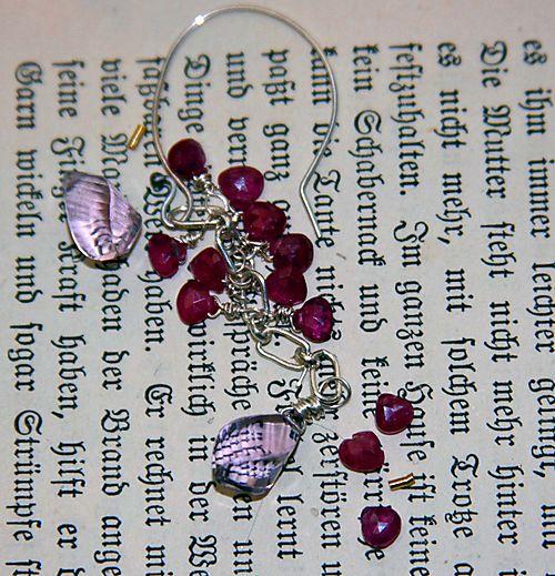 Ruby amethyst earrings in progress