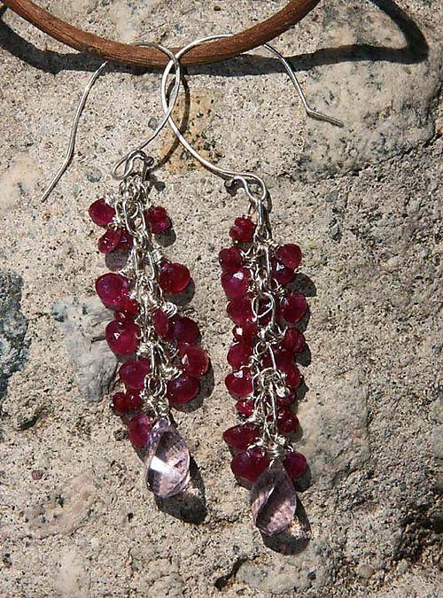 Ruby amethyst earrings
