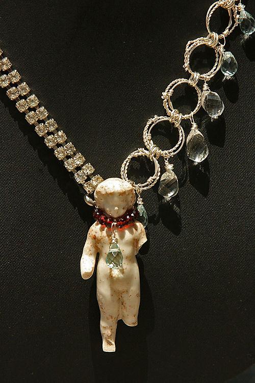German doll with rhinestone bracelet, handmade chain, garnets, crystals, and quartz 3