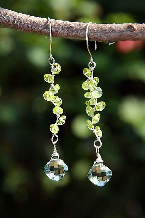 Spring vines_earrings of peridot and green amethyst