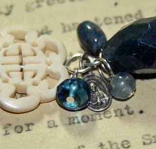 Blue bracelet_medal detail