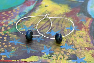 Hammered hoops with lapis