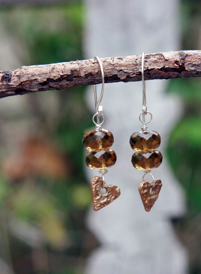 Spring earrings_whiskey quartz and bronze hearts hanging