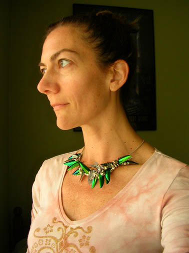 Necklace of beetle wing charms