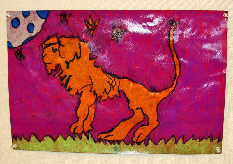 Finn's art class open house_7_22_09_Finn's Lion