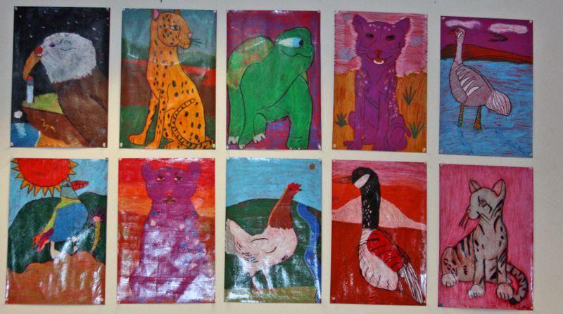 Finn's art class open house_7_22_09 wall of animals