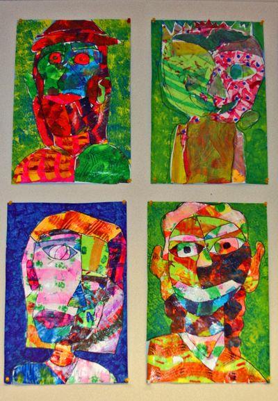 Finn's art class open house_7_22_09 mixed media self portraits