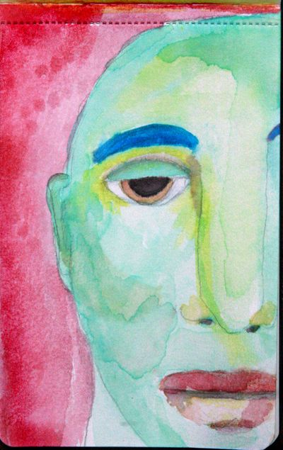 Blue and green man
