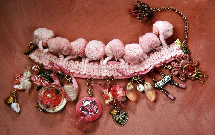 Pink pom pom bracelet