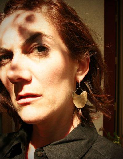 Etched brass earrings_worn