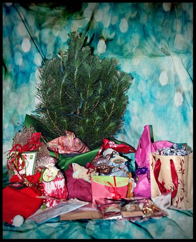 Wrapped ornies under the tree with border
